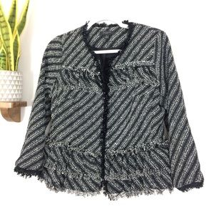 Ann Taylor Jackets & Coats - Ann Taylor 6 Petite Ruffle Tweed Blazer Jacket